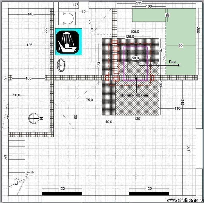 Схема дом-бани в Visio